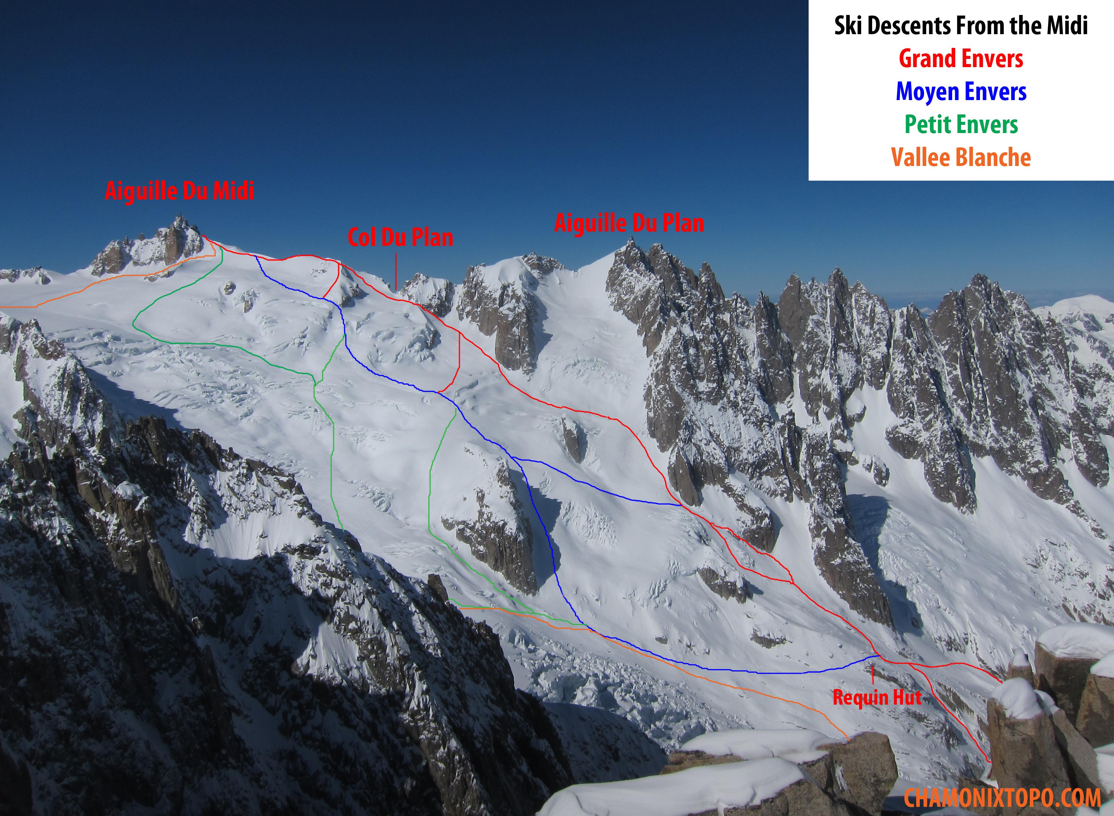 The Valle Blanche Chamonix Topo